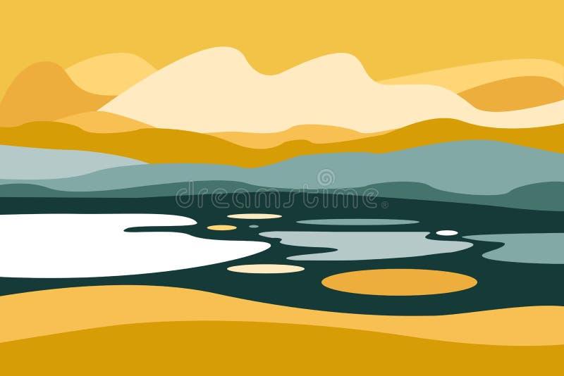 Paisagem da montanha com um lago Curso, atividades exteriores, esportes exteriores, férias Estilo liso ilustração royalty free