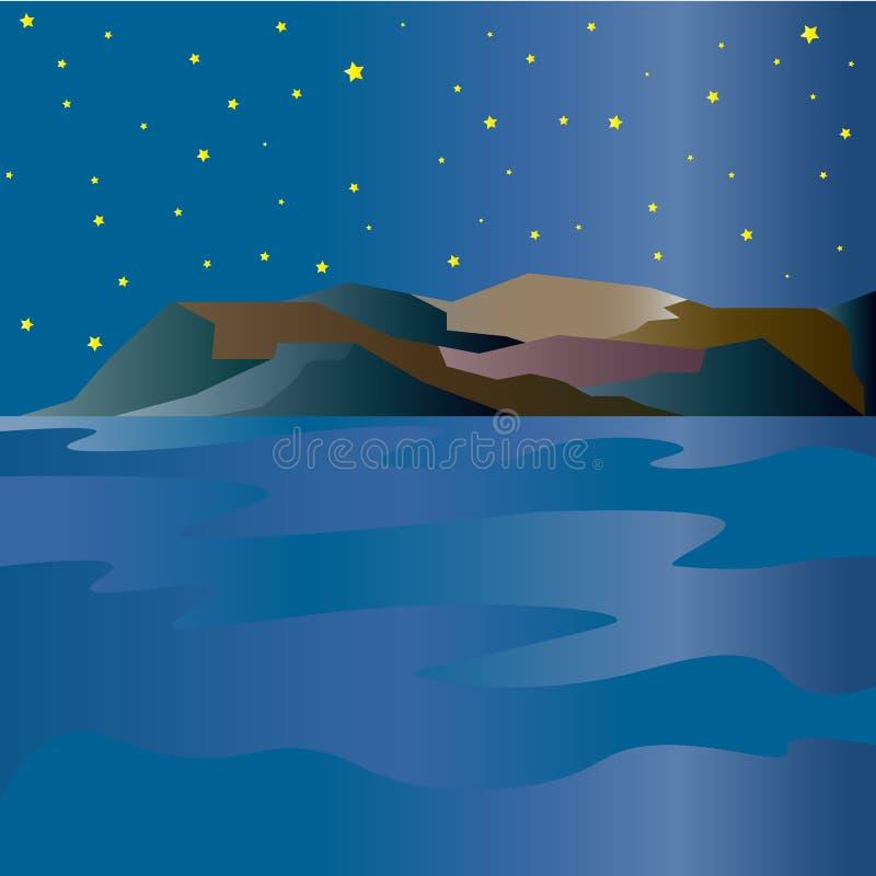 Paisagem da montanha com um lago no alvorecer ilustração do vetor