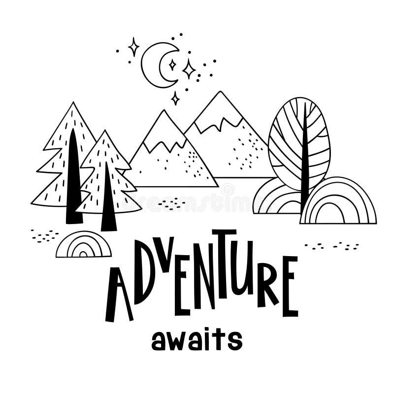 A paisagem da montanha de Minimalistic com árvores e aventura da inscrição da escrita espera ilustração stock