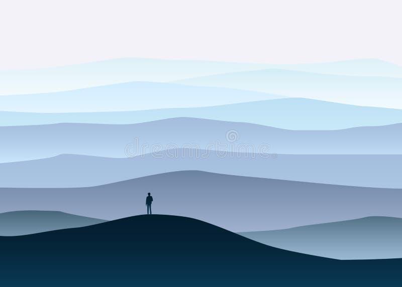 Paisagem da montanha de Minimalistic, explorador só, horizonte, perspectiva, vetor, ilustração, isolada, estilo dos desenhos anim ilustração royalty free
