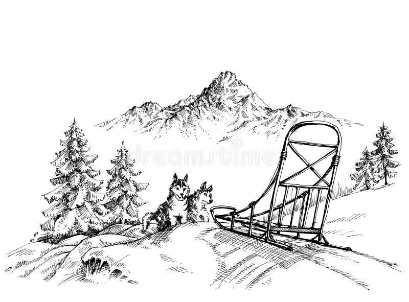 Paisagem da montanha do inverno ilustração do vetor