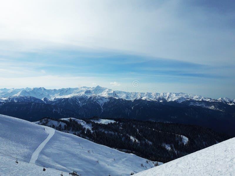 Paisagem da montanha do inverno em Sochi Rússia foto de stock royalty free