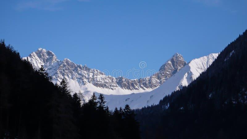 Paisagem da montanha do inverno do Parc Ela Park em Suíça do sudeste em um dia de inverno bonito foto de stock royalty free