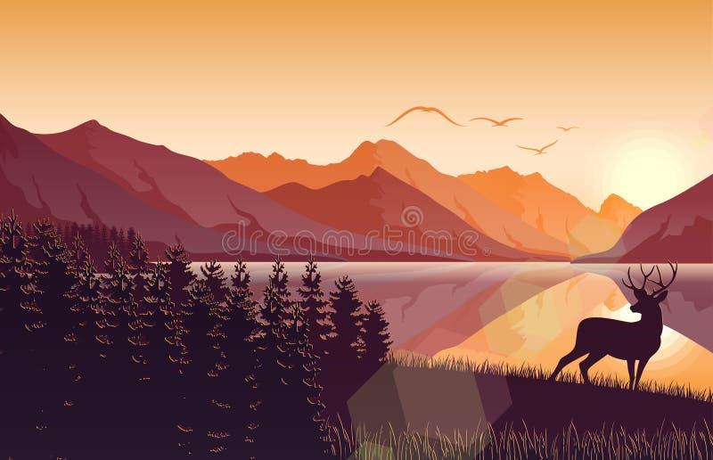 Paisagem da montanha do por do sol com cervos em uma floresta perto de um lago ilustração royalty free