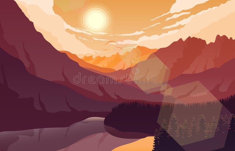 Paisagem da montanha do por do sol com floresta e lago ilustração royalty free