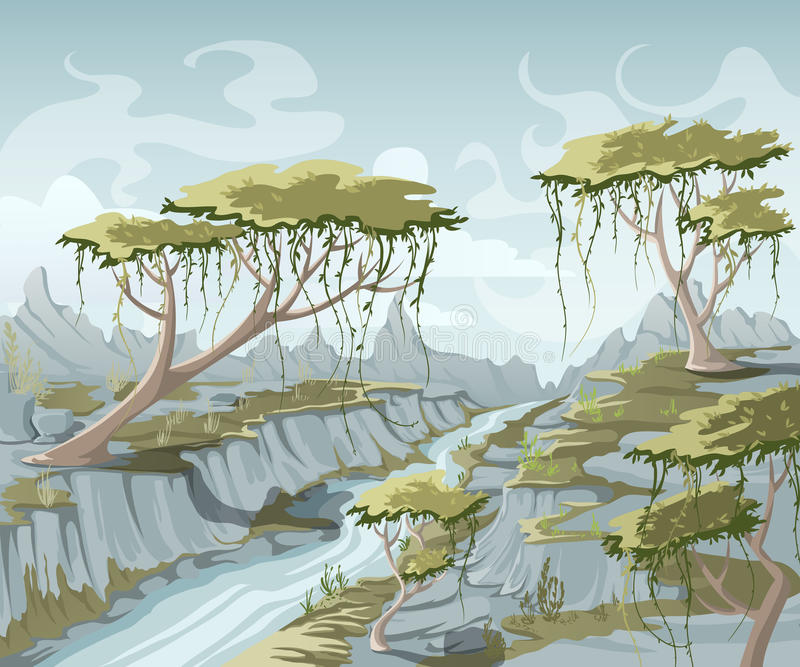 Paisagem da montanha do verão com rio e árvores ilustração stock