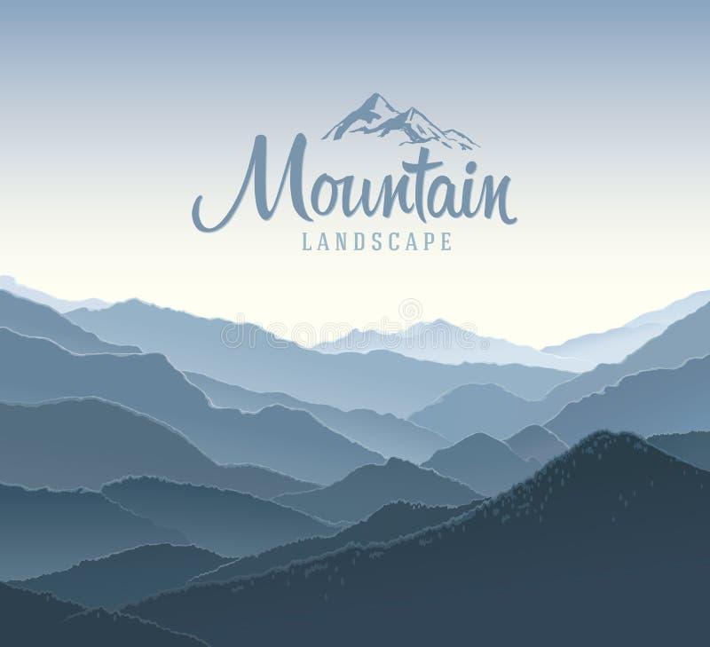 Paisagem da montanha e logotipo dos elementos ilustração royalty free