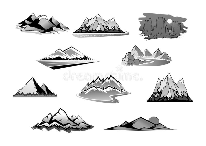 A paisagem da montanha isolou o grupo do ícone ilustração do vetor