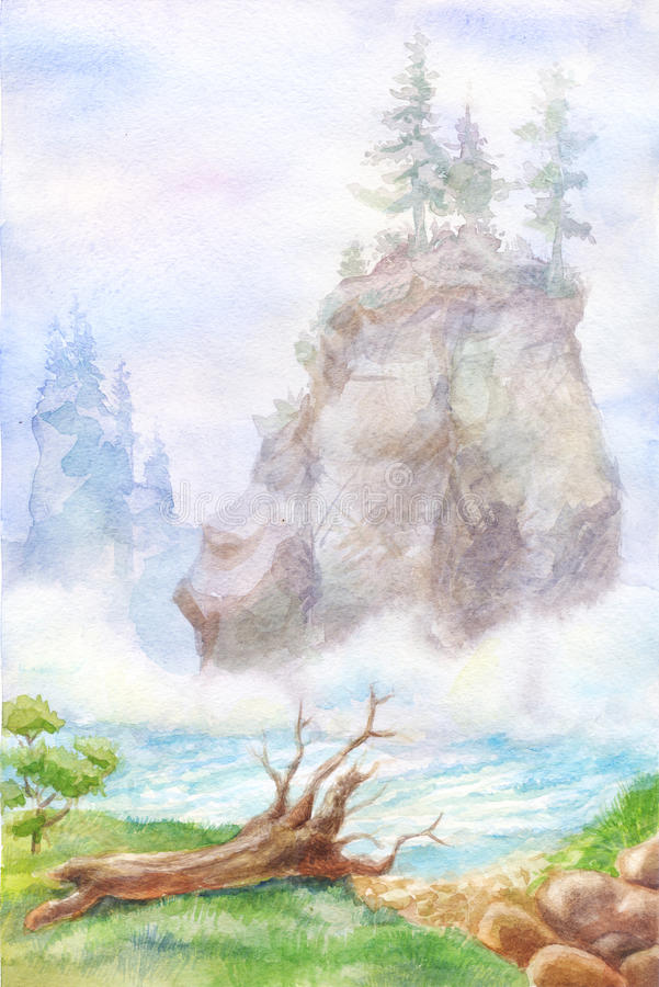 Paisagem da montanha na aquarela Pintura com névoa do rio, raiz ilustração royalty free