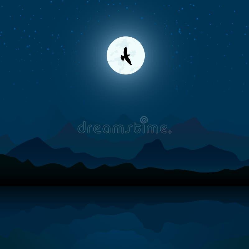 Paisagem da montanha na noite ilustração do vetor
