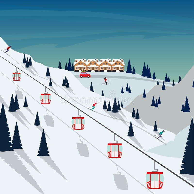 Paisagem da montanha da neve da estância de esqui, esquiadores em inclinações, elevadores de esqui Paisagem do inverno com a incl ilustração royalty free