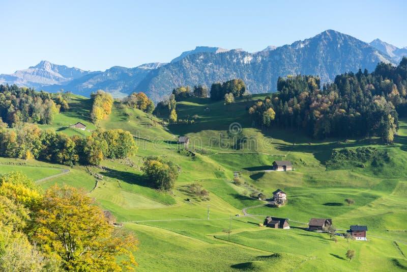 Paisagem da montanha no buergenstock perto do turismo de switzerland da lucerna fotos de stock royalty free