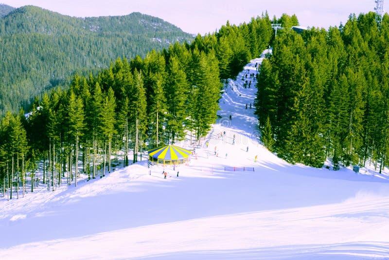 Paisagem da montanha no dia gelado do inverno ensolarado com fotos de stock