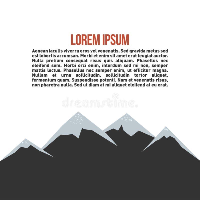 Paisagem da montanha Símbolo da atividade exterior com textura do grunge na montanha e lugar para o texto inspirado ilustração stock
