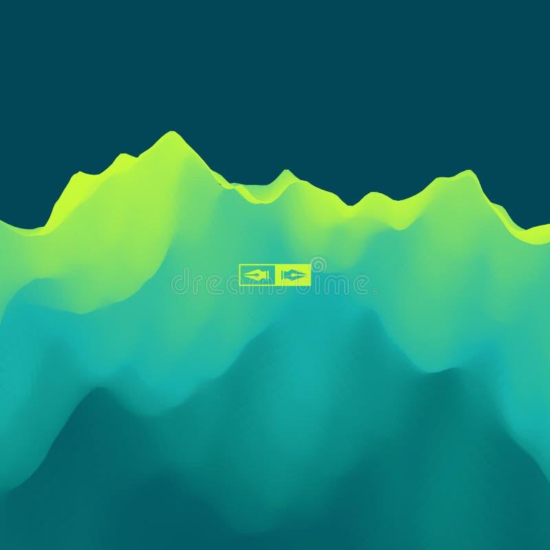 Paisagem da montanha Terreno montanhoso Ilustração do vetor abstraia o fundo ilustração stock