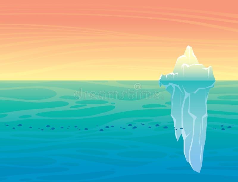 Paisagem da natureza com iceberg ilustração royalty free