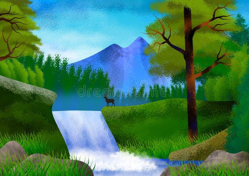 Paisagem da natureza com montanha, árvores, montes e um rio Ilustra??o wallpaper foto de stock