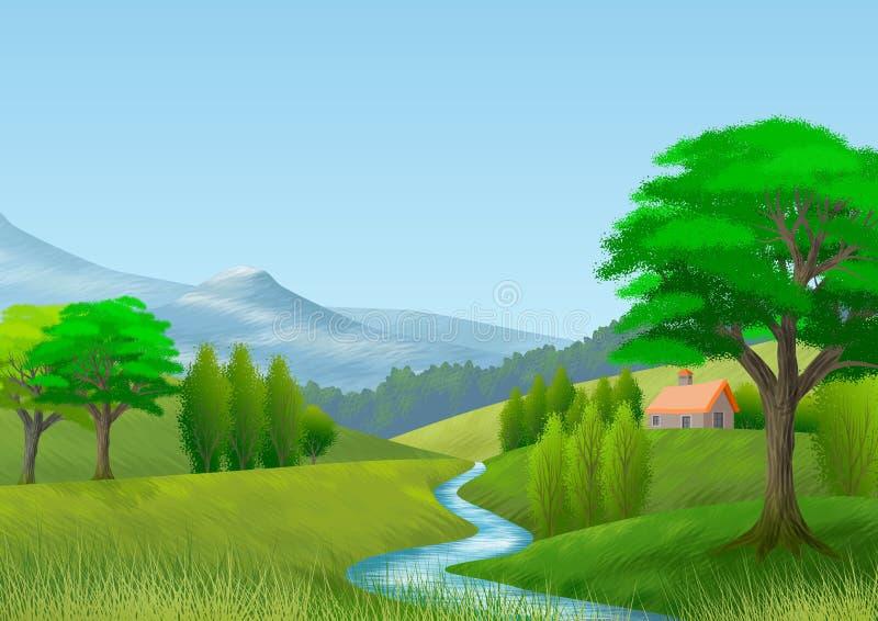 Paisagem da natureza com montanha, árvores, montes, um rio e uma casa de campo wallpaper Fundo imagens de stock royalty free