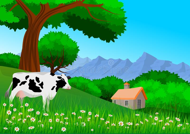 Paisagem da natureza, com montanha, árvores, montes, uma casa de campo e uma vaca a pastar ilustração royalty free