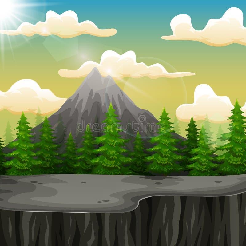 Paisagem da natureza com montanha e o penhasco ilustração royalty free