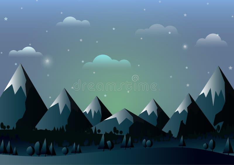 A paisagem da natureza com montanhas e o céu azul abstraem o fundo ilustração stock