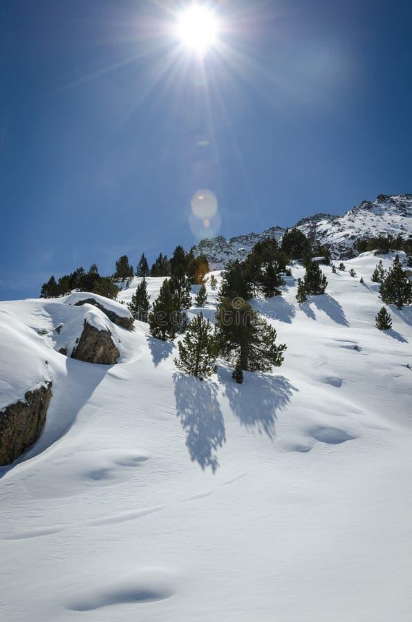 Paisagem da natureza do inverno, uma incrível vista de montanha de neve Dia congelado na estância de esqui fotos de stock royalty free