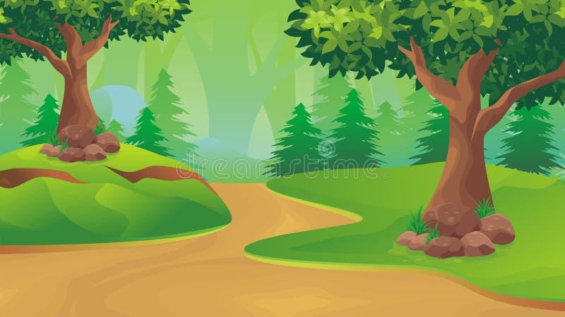 Paisagem da natureza, fundo do jogo dos desenhos animados ilustração stock