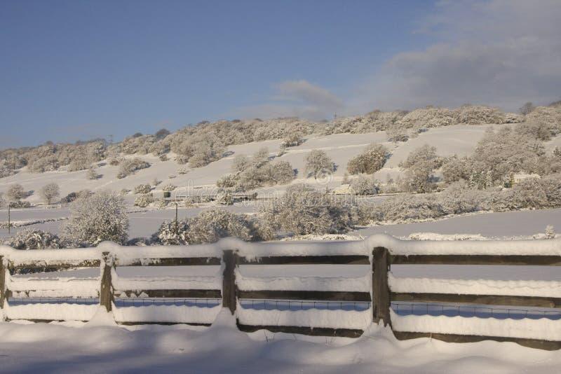 Paisagem da neve do inverno, Cardiff, Reino Unido fotografia de stock