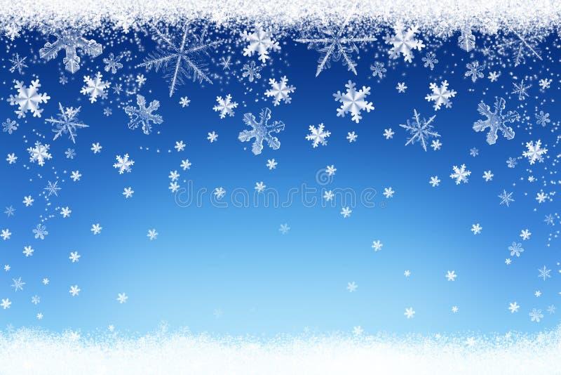 Paisagem da neve do inverno do Natal no fundo azul com flocos de neve de prata ilustração royalty free