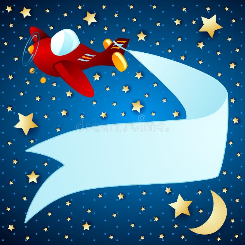 Paisagem da noite com avião e bandeira ilustração stock