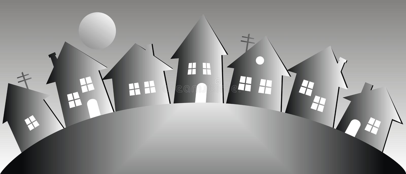 Paisagem da noite com casas e lua, ilustração do vetor ilustração stock