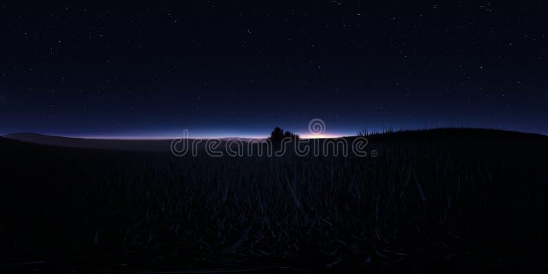 Paisagem da noite com estrelas e a Lua cheia Panorama, mapa do ambiente 360 HDRI Projeção de Equirectangular, panorama esférico ilustração stock