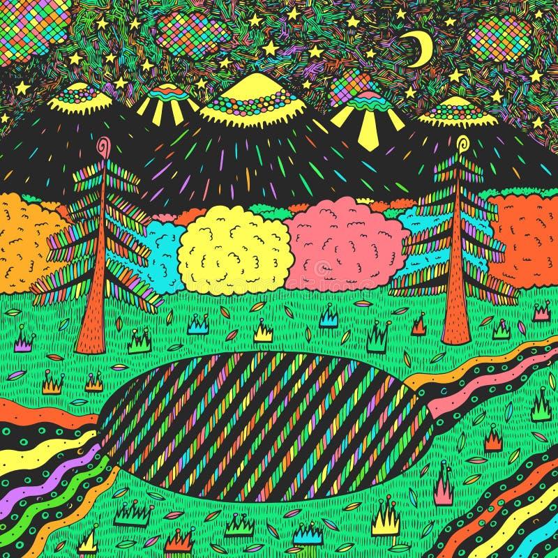 Paisagem da noite com floresta da noite, lago, ?rvores, montanhas, rio ilustra??o colorida tirada m?o Luz do vetor art ilustração royalty free