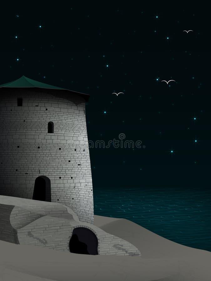 Paisagem da noite com a fortaleza restaurada na costa e nos pássaros ov ilustração stock