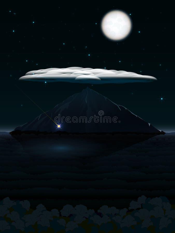 Paisagem da noite com montanha e nuvem e lua ilustração do vetor