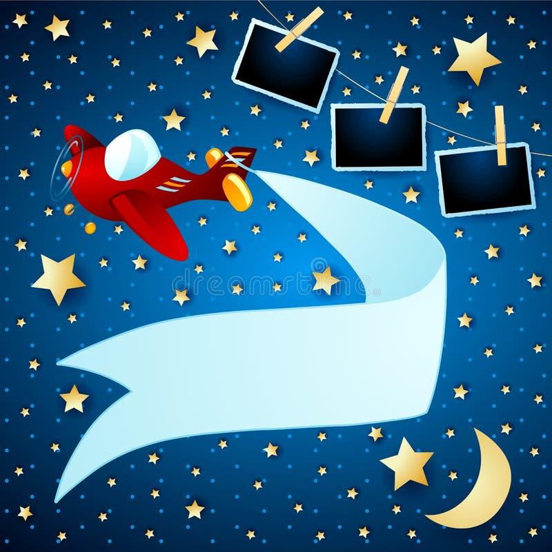 Paisagem da noite com quadros do avião, da bandeira e da foto ilustração stock