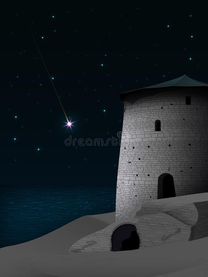 Paisagem da noite com torre antiga e as paredes dilapidadas do ilustração stock