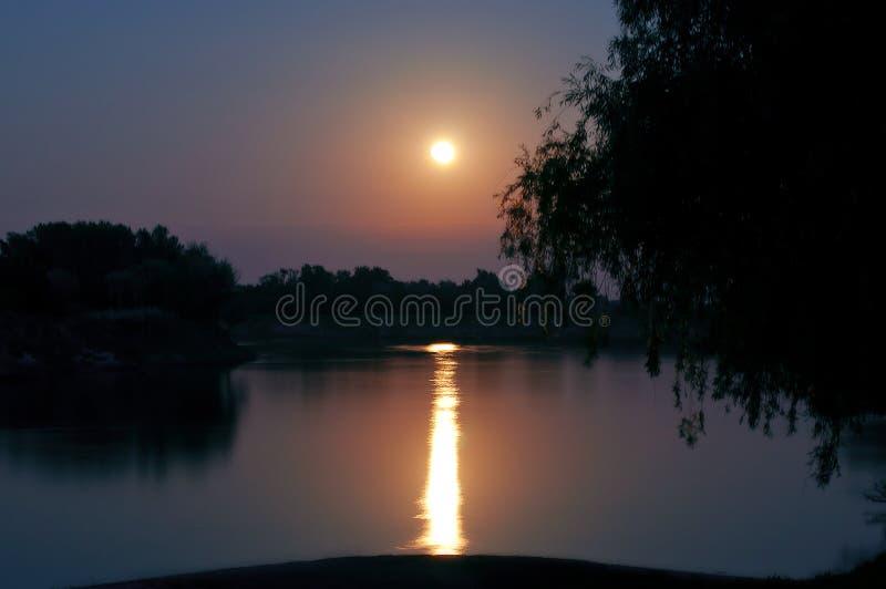 Paisagem da noite com uma Lua cheia sobre o lago, que reflete o trajeto do luar foto de stock royalty free