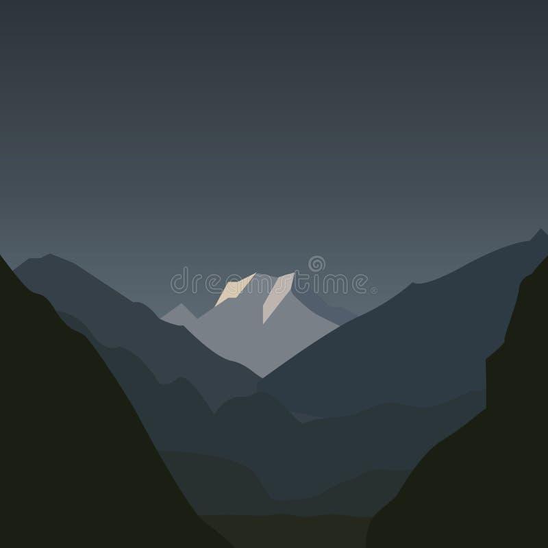 Paisagem da noite das montanhas com lua ilustração royalty free
