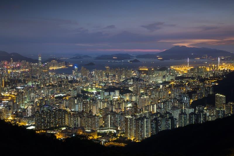 Paisagem da noite de Hong Kong imagem de stock royalty free