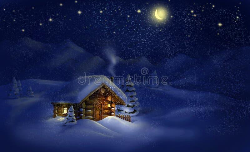 Paisagem da noite de Natal - cabana, neve, pinheiros, lua e estrelas