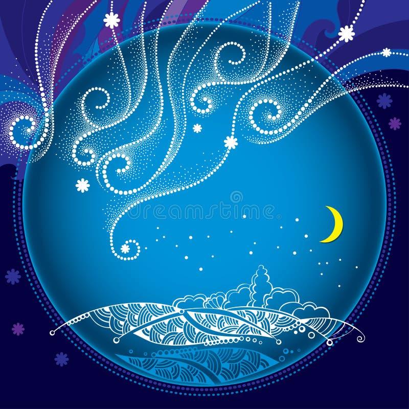 Paisagem da noite do inverno com flocos de neve pontilhados e linhas encaracolado no quadro redondo inverno e fundo tradicionais  ilustração do vetor