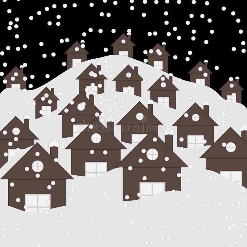 Paisagem da noite do inverno da vila com casas cobertos de neve e telhados Fundo liso da paisagem do inverno bonito do Natal ilustração royalty free