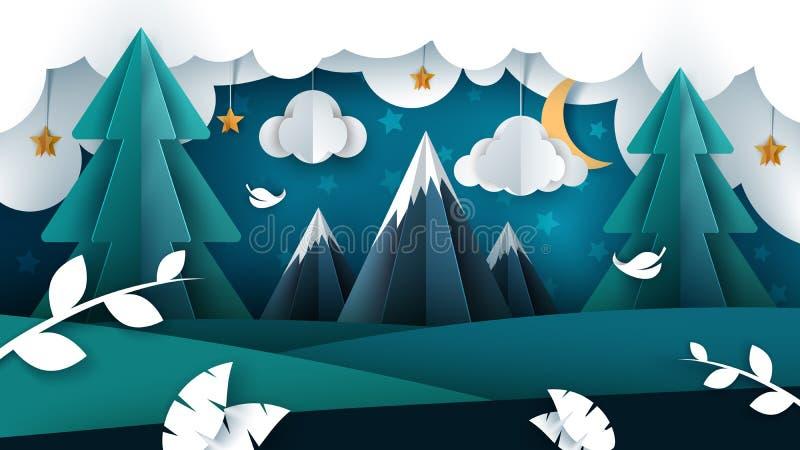 Paisagem da noite dos desenhos animados ilustração de papel ilustração royalty free