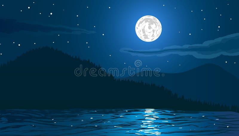 Paisagem da noite Encalhe pelo mar com montanhas e Lua cheia ilustração royalty free