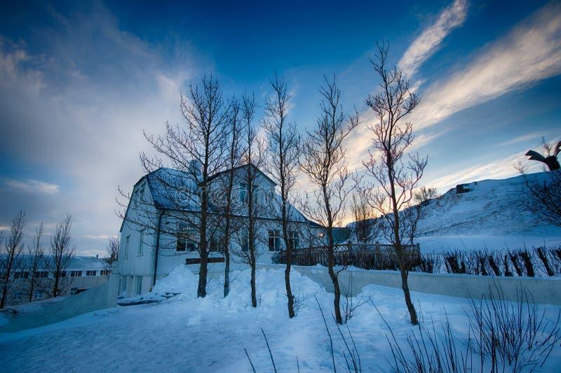 Paisagem da opinião do inverno do vik de Islândia foto de stock royalty free