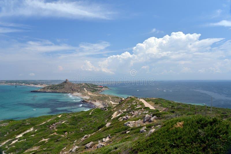 Paisagem da península de Sinis, ilha de Sardinia, Itália fotos de stock royalty free