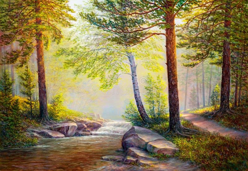 Paisagem da pintura a óleo ilustração royalty free