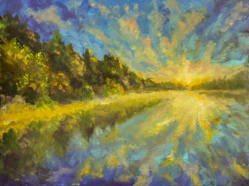 Paisagem da pintura a óleo - alvorecer do por do sol sobre o mar do rio da água do lago Os raios do sol refletidos na água Flores ilustração royalty free