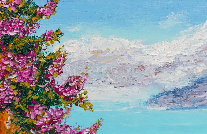 Paisagem da pintura a óleo da textura da pintura, arte do impressionismo ilustração royalty free